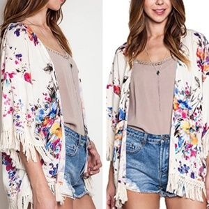 Umgee XL Ivory Floral Watercolor Kimono